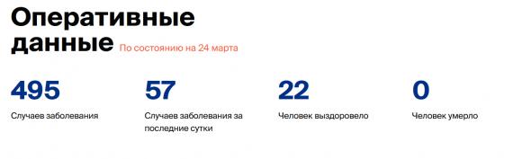 Число заболевших коронавирусом на 24 марта 2020 года в России