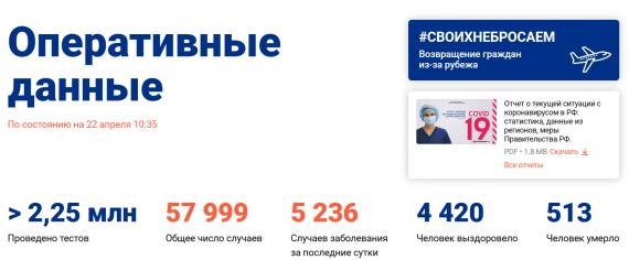 Число заболевших коронавирусом на 22 апреля 2020 года в России