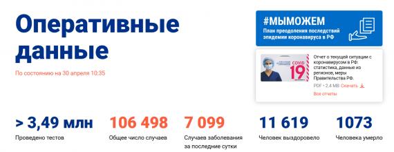 Число заболевших коронавирусом на 30 апреля 2020 года в России