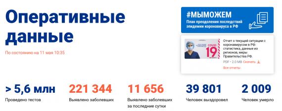 Число заболевших коронавирусом на 11 мая 2020 года в России