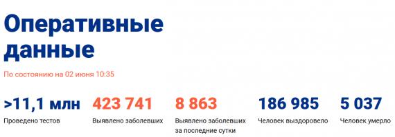 Число заболевших коронавирусом на 02 июня 2020 года в России