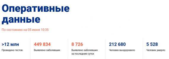 Число заболевших коронавирусом на 05 июня 2020 года в России
