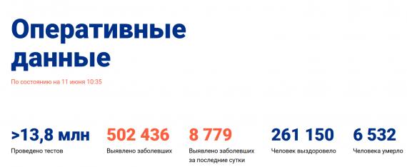 Число заболевших коронавирусом на 11 июня 2020 года в России