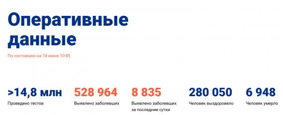 Число заболевших коронавирусом на 14 июня 2020 года в России