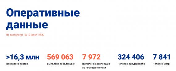 Число заболевших коронавирусом на 19 июня 2020 года в России