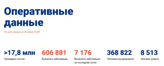 Число заболевших коронавирусом на 24 июня 2020 года в России