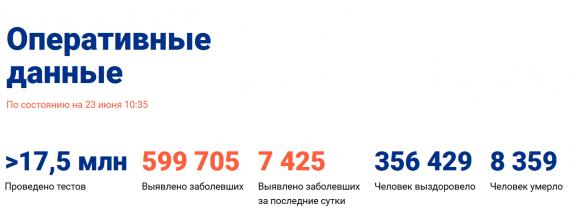 Число заболевших коронавирусом на 23 июня 2020 года в России