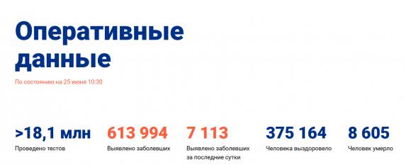 Число заболевших коронавирусом на 25 июня 2020 года в России