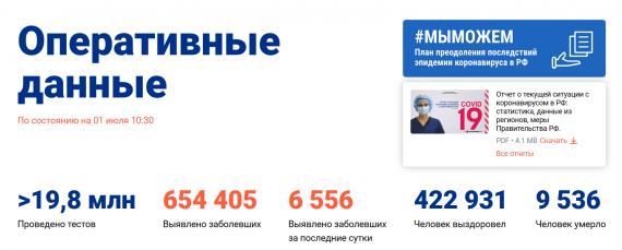 Число заболевших коронавирусом на 01 июля 2020 года в России