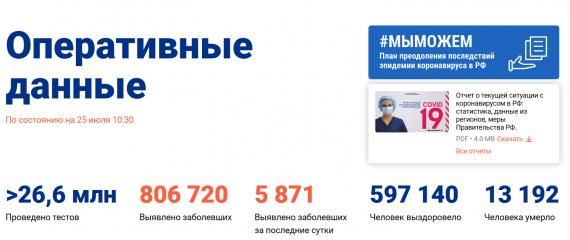Число заболевших коронавирусом на 25 июля 2020 года в России