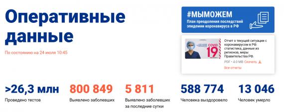 Число заболевших коронавирусом на 24 июля 2020 года в России