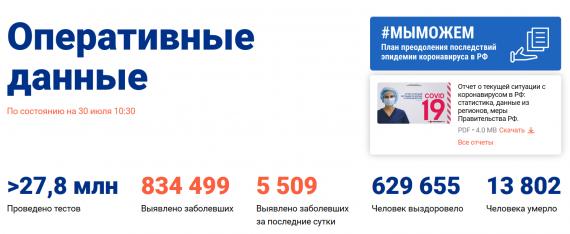 Число заболевших коронавирусом на 30 июля 2020 года в России