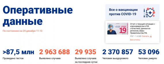 Число заболевших коронавирусом на 24 декабря 2020 года в России