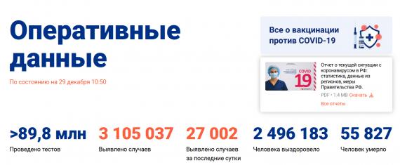 Число заболевших коронавирусом на 29 декабря 2020 года в России