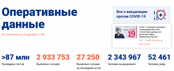 Число заболевших коронавирусом на 23 декабря 2020 года в России