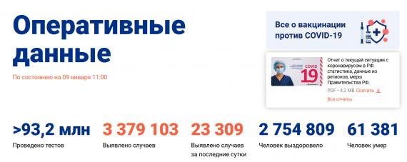 Число заболевших коронавирусом на 09 января 2021 года в России
