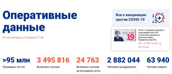 Число заболевших коронавирусом на 14 января 2021 года в России