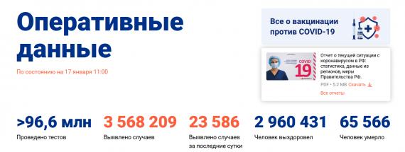 Число заболевших коронавирусом на 17 января 2021 года в России
