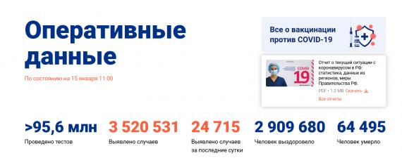 Число заболевших коронавирусом на 15 января 2021 года в России