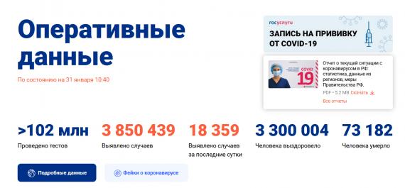 Число заболевших коронавирусом на 31 января 2021 года в России