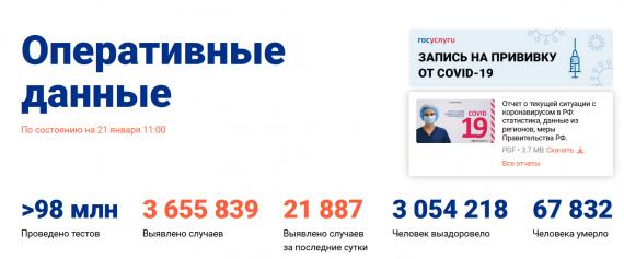Число заболевших коронавирусом на 21 января 2021 года в России