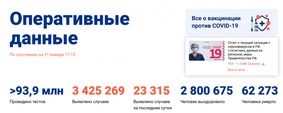 Число заболевших коронавирусом на 11 января 2021 года в России