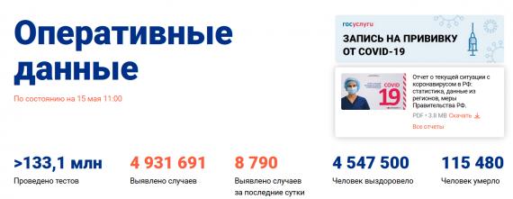 Число заболевших коронавирусом на 15 мая 2021 года в России
