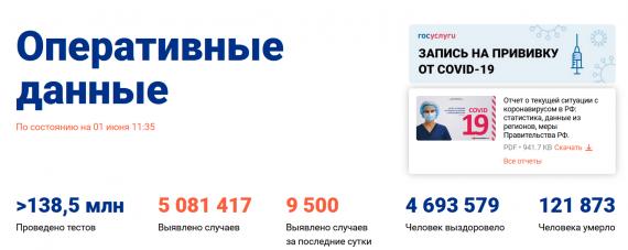 Число заболевших коронавирусом на 01 июня 2021 года в России