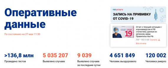 Число заболевших коронавирусом на 27 мая 2021 года в России