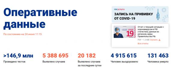 Число заболевших коронавирусом на 24 июня 2021 года в России