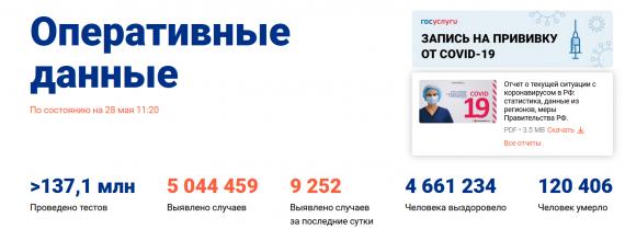 Число заболевших коронавирусом на 28 мая 2021 года в России