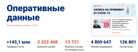 Число заболевших коронавирусом на 14 июня 2021 года в России
