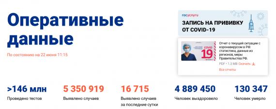 Число заболевших коронавирусом на 22 июня 2021 года в России