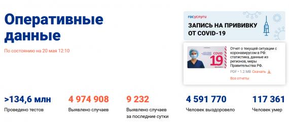 Число заболевших коронавирусом на 20 мая 2021 года в России