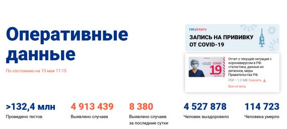 Число заболевших коронавирусом на 13 мая 2021 года в России