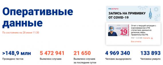 Число заболевших коронавирусом на 28 июня 2021 года в России