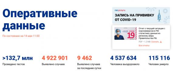 Число заболевших коронавирусом на 14 мая 2021 года в России