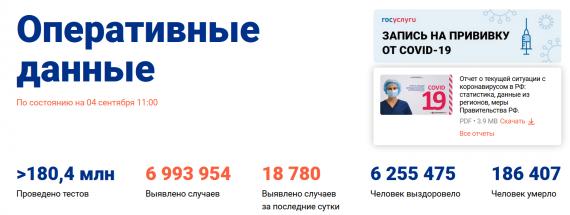 Число заболевших коронавирусом на 04 сентября 2021 года в России