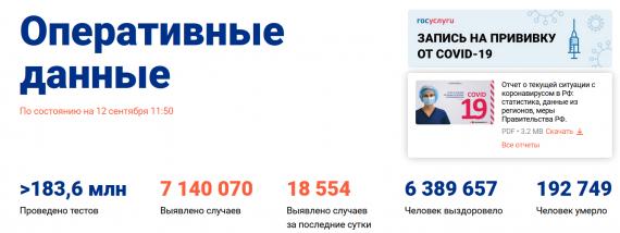Число заболевших коронавирусом на 12 сентября 2021 года в России