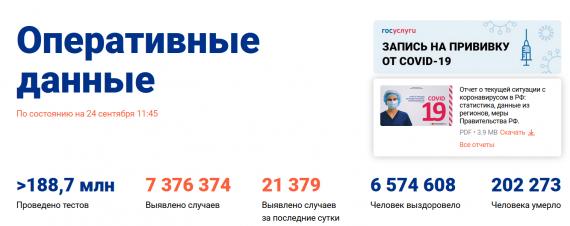Число заболевших коронавирусом на 24 сентября 2021 года в России