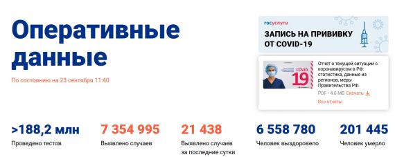 Число заболевших коронавирусом на 23 сентября 2021 года в России