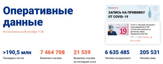 Число заболевших коронавирусом на 28 сентября 2021 года в России