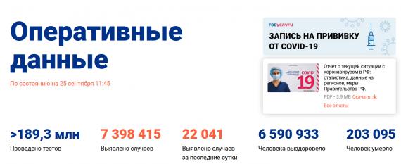 Число заболевших коронавирусом на 25 сентября 2021 года в России