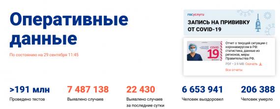 Число заболевших коронавирусом на 29 сентября 2021 года в России