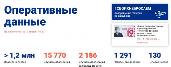 Число заболевших коронавирусом на 12 апреля 2020 года в России