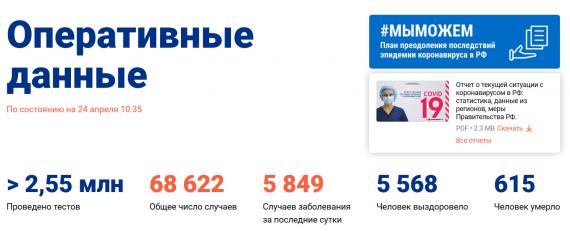 Число заболевших коронавирусом на 24 апреля 2020 года в России