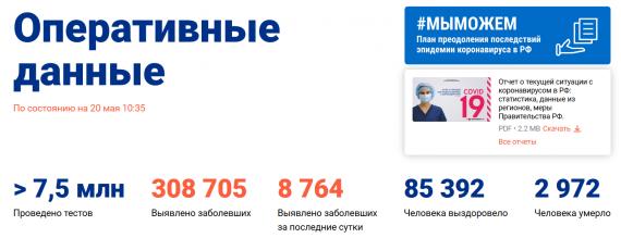 Число заболевших коронавирусом на 20 мая 2020 года в России