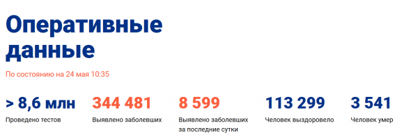 Число заболевших коронавирусом на 24 мая 2020 года в России
