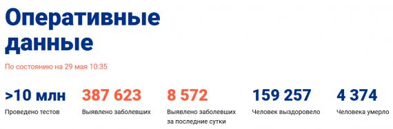 Число заболевших коронавирусом на 29 мая 2020 года в России