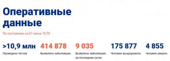 Число заболевших коронавирусом на 01 июня 2020 года в России
